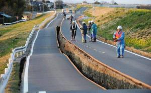 earthquake road damage in Japan