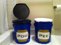 PHLUSH Twin No Mix poop pee buckets for sanitation