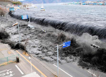 tsunami floods Japan