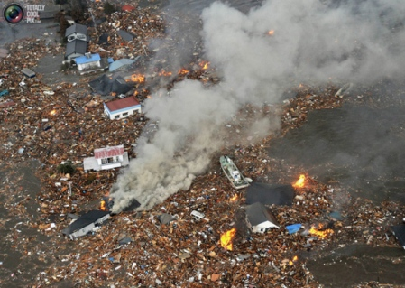 debris after Japan earthquake and tsunami