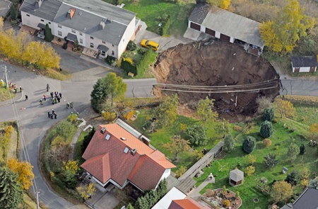 APTOPIX Germany Landslide and sinkhole