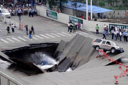 sinkhole in road