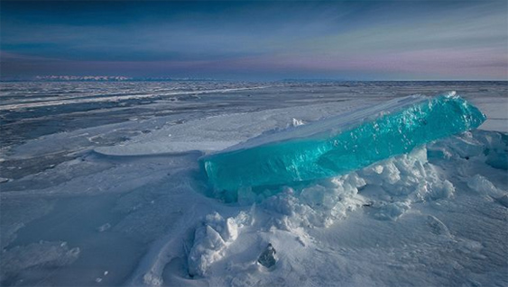 Siberia's Lake Baikal turquoise ice