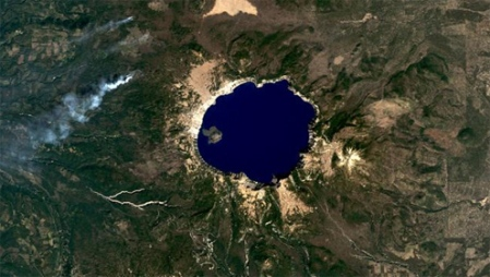 crater lake national park Oregon photo by nasa