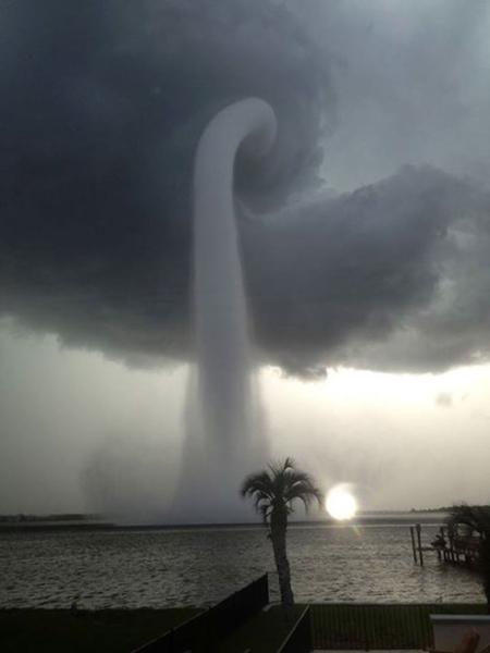 Tampa Bay Florida waterspout photo by joey mole via NASA