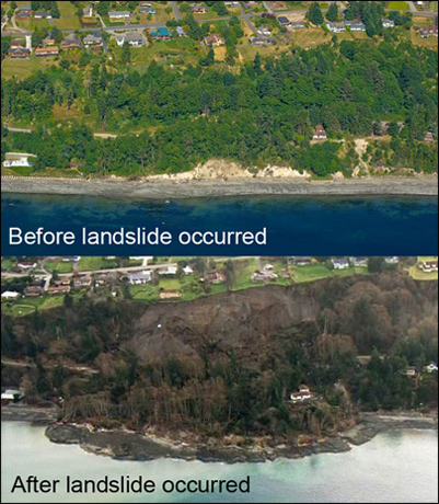 Whidbey Island WA 2013 mudslide before after